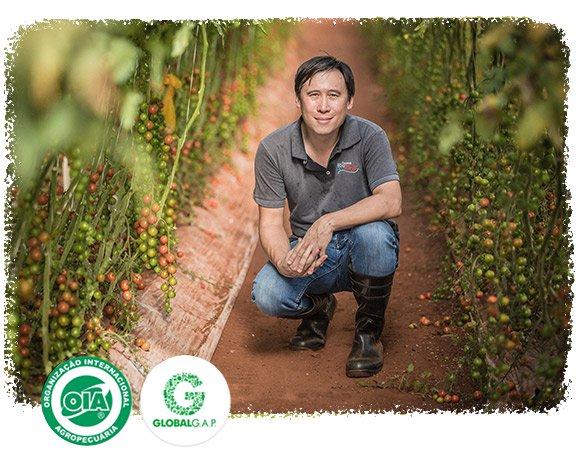 Foto com o Alex, proprietário da fazenda, em meio a uma plantação
